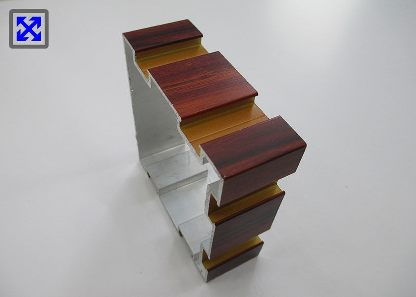 Wood Grain Transfer Column Aluminum Extrusion Profiles For Hotel Decoration