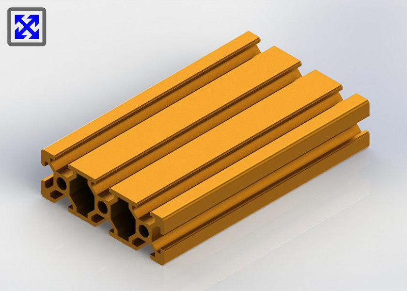 Sand Blasting Yellow Anodized Aluminium T Slot Channel 2060 For Transmission