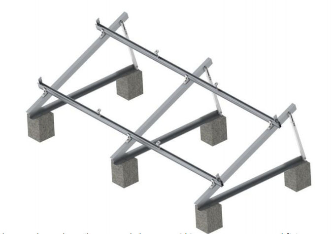 Triangle Frame Adjustable Solar Panel Mounting System For Flat Roof Or Ground